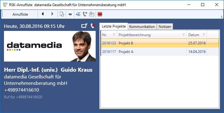 """RSK-Anrufliste mit Ansicht """"Letzte Projekte"""""""