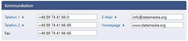 Bildschirmausschnitt von RSK-KIS mit Hyperlinks für Telefonnummern