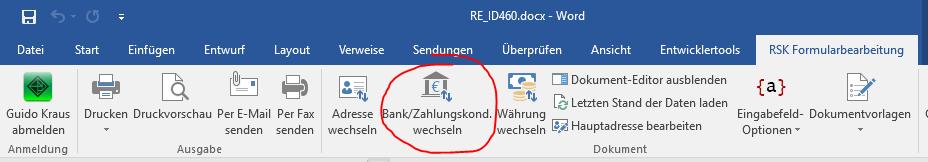 Menübefehl Bank/Zahlungskond. wechseln