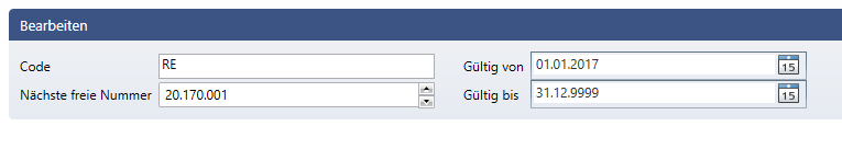 Pflege der Nummernkreise im Admin-Modul