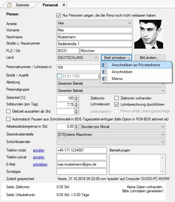 Anschreiben erstellen aus dem Personalstammdaten-Bildschirm von RSK-BL