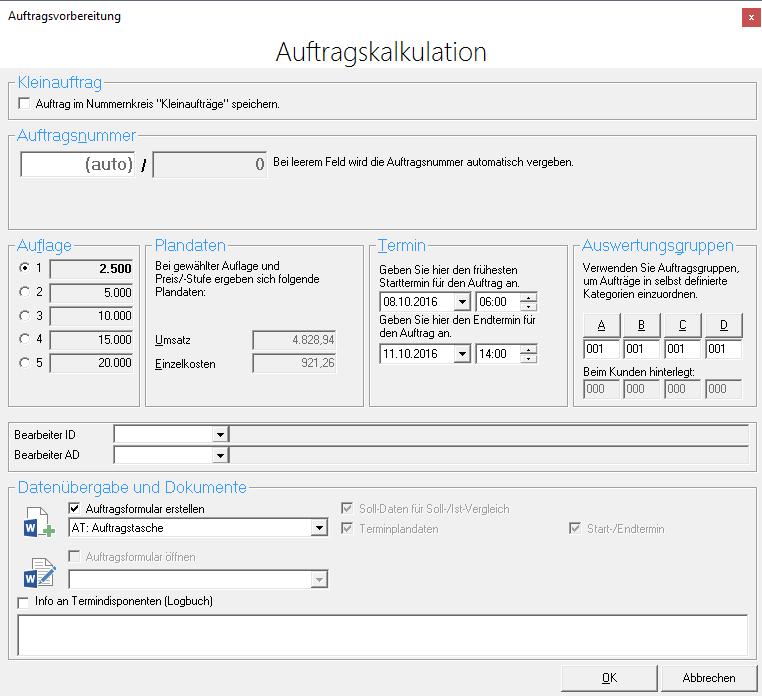 RSK-VK Dialogfenster Auftragskalkulation